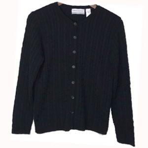 🆕 Alfred Dunner Navy Cable Knit Cardigan XL